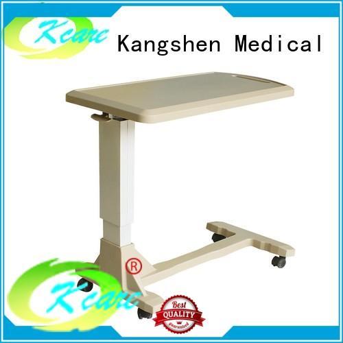 Kangshen Medical with wheels over bed table for sale folded steel hospital