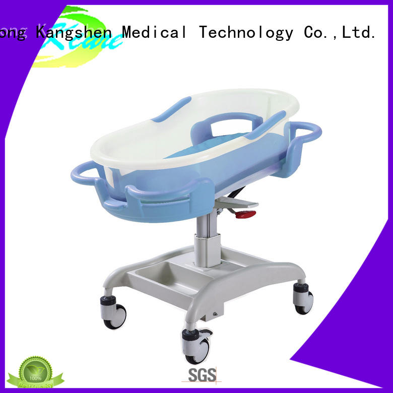 with wheels hospital baby bed three-functions folded steel dining table
