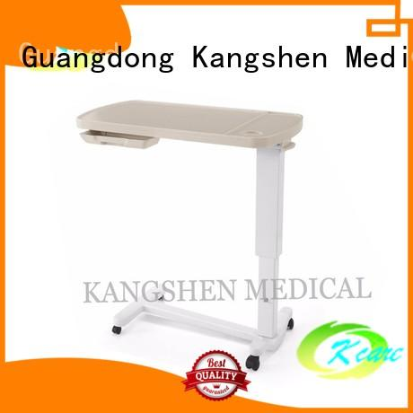 Kangshen Medical adjustable over bed tray table top quality dining table